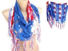 American flag. cotton crochet scarf. women scarf. Patriotic 4th of July. women swimwear. cover up. striped.. stars. senoAccessory on Etsy, 35,00$