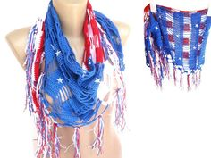 American flag. cotton crochet scarf. women scarf. Patriotic 4th of July. women swimwear. cover up. striped.. stars. senoAccessory #americanflag #swimsuit #coverup #skirt #beachwear #summer #4thofjuly #starsandstripes #scarf #shawl