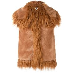 Stella McCartney faux fur gilet ($1,240) ❤ liked on Polyvore featuring outerwear, vests, brown, brown vest, fake fur vests, sleeveless vest, brown faux fur vests and faux fur waistcoat