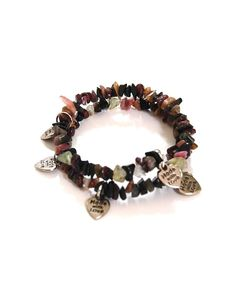 Natural Gemstones Tourmaline Bracelet Memory Wire Heart Charms Fengshui USA #Handmade #Beaded #Love#Protection #Healing #Semiprecious #Stone