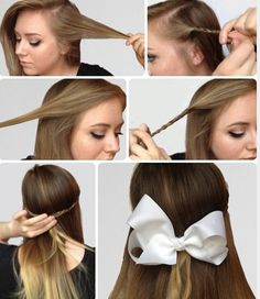 6 Super Easy Hairstyles for Finals Week - College Fashion - Braids hair bows tutorial - Super Easy Hairstyles, Easy Hairstyles For School, Step By Step Hairstyles, Everyday Hairstyles, Cute Hairstyles, Straight Hairstyles, Braided Hairstyles, Hairstyle Ideas, Hairstyle Tutorials