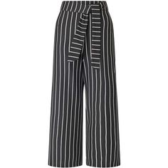 Miss Selfridge Striped Tie Crop Trousers ($49) ❤ liked on Polyvore featuring pants, capris, multi, striped pants, stripe pants, miss selfridge, striped trousers and cropped pants