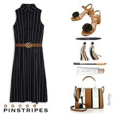 """* p i n s t r i p e *"" by eyesondesign ❤ liked on Polyvore featuring Gucci, J.Crew, PINCEAU and eyesondesignfashion"