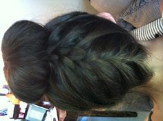 Cute and super easy hairstyle! Sock bun with a French braid on the back.
