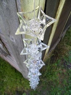 Glass Star Candleholder Rain Chain. For sale. I would like to make one. Materials: Ceramic Beads, Telephone Wire, Glass, Upcycled Candleholders