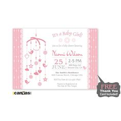 It's a Girl Baby Shower Invitation, Girl's Baby Shower Invite, Cute Blush Pink Baby Shower Invite, Mobile Baby Shower Invitations BS 73 by 800Canvas on Etsy