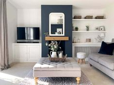 Fireplace Beam, Living Room With Fireplace, New Living Room, Home And Living, Living Room Decor, Empty Fireplace Ideas, Shelves Around Fireplace, Home Fireplace, Blue Living Room Paint