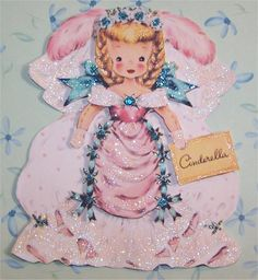 vintage Cinderella Hallmark card from the 50's. whole series of storybook characters, people from other countries.