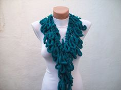 Hand crochet Long Scarf Mulberry Scarf  Teal Green Pompom by nurlu, $19.00
