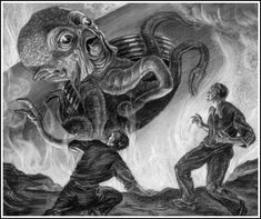 Sketches by Ray Harryhausen for an unrealized production of H.G. Wells' The War of the Worlds'
