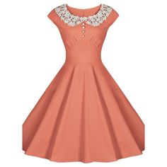 Audrey Hepburn style vintage lace patchwork slim big swing dress robe women's…