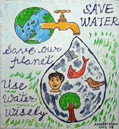 how to save water for kids posters Water Kids, Water Art, Save Water Poster Drawing, Save Earth Posters, Save Water Save Life, Earth Day Drawing, Importance Of Water, Earth Day Activities, World Water Day