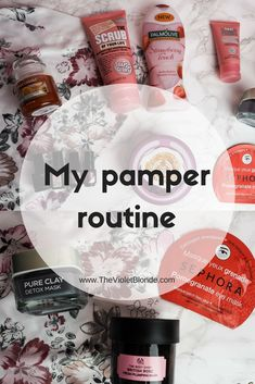 My pamper routine from start to finish including products from Lush, The Body Shop, L'Oreal, Soap & Glory, Yankee Candle and more. Sunday pamper. Pamper night. Pamper party. Pamper weekend. Girls night. Relax.