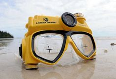 Digital Camera Swim Mask. What a great motivator for wanting to interact with coral reefs & other ocean wildlife.