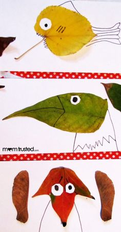 Leaf Animals! What a great Fall activity! From www.overthebigmoon.com #fallactivities #kidsactivities #leaves