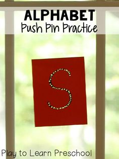 Alphabet Push Pin Practice - A simple way to practice pencil grasp, fine motor control, and letter identification at the same time!
