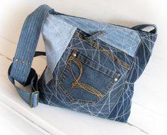 jeans bag denim bag pathwork bag shoulder by klaptykart on Etsy