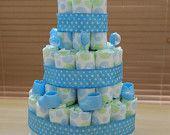 3 Tier Boy Diaper Cake - Sweet Baby Boy