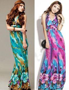 Women's Sexy BOHO Style Floral Pattern Halter Casual Summer Beach Maxi Dress #31