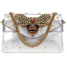 Gucci Broadway shoulder bag (46.100 ARS) ❤ liked on Polyvore featuring bags, handbags, shoulder bags, grey, leather shoulder bag, clear handbags, gucci shoulder bag, gucci purse and studded envelope clutch