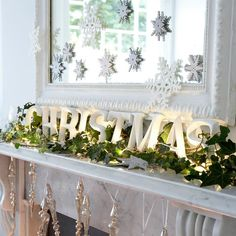 Get inspiration for a winter wonderland-themed mantel.