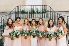 Bride and bridesmaids during reception group photos