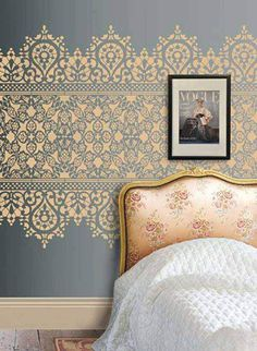 Bold pattern over a muted colour background is perfect for creating a statement in a room. Like this lace stencil design, add coordinating accessories to bring the effect to life. This is fantastic for bedrooms and living rooms. Lace Stencil, Wall Stenciling, Damask Wall Stencils, Stencil Decor, Paint Stencils, Large Wall Stencil, Wall Stencil Patterns, Wallpaper Patterns, Wallpaper Designs
