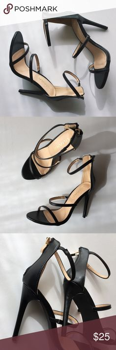 Liliana Three Love Dress Sandals NWOB The perfect black vegan leather dress sandals with three straps, an open toe and a zipper back closure. Great heels to pair with that little black dress or any piece in your wardrobe. New without box. Excellent condition.  Heel 4.5in Liliana Shoes Heels