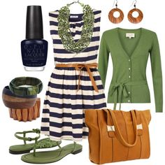 Very cute dress and cardigan outfit! I might do navy blue knee-length leggings if the dress is too short, and I'd want different green shoes (flats maybe). The rest is great!
