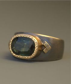 18k gold & oxidized sterling silver ring with green tourmaline
