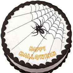 Spider on Corner Web Halloween Edible Cake Topper | My Party Helpers | http://mypartyhelpers.com/products/spider-on-corner-web-halloween-edible-cake-topper