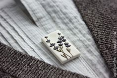 Brooch, handmade, polymer clay, lavender, botanical, simple, elegant