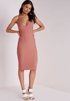 Missguided - Crepe Strappy Midi Dress Rose