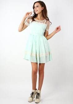 Dolly Floral Lace Trim Mint Dress - Retro, Indie and Unique Fashion