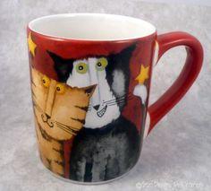 Cool Cat Novelty Mug Debi Hron Red Never Used Coffee Tea Cup Stars Kitty Pet