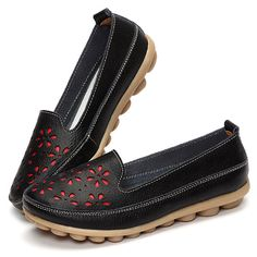 42dcbd94c72d Hot-sale Big Size Soft Brethable Leather Floral Hollow Out Slip On Flat  Loafers -
