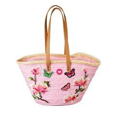 Capazo lacado en rosa aplicaciones flores y mariposas