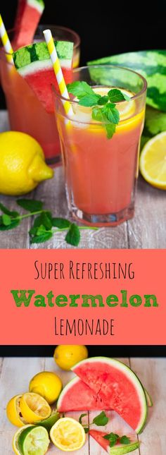 This watermelon lemonade is perfect for hot summer days! It's ready to drink in no time and it's so delicious! Check out the recipe: http://veganheaven.org/recipe/super-refreshing-watermelon-lemonade/