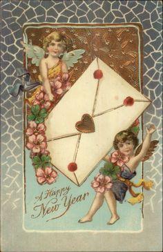 New Year - Cherubs w/ Giant Envelope - Lovely Gold Finish c1910 Postcard