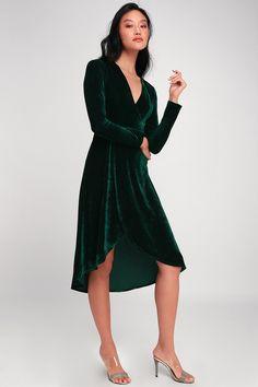 07884ad2 Silver Screen Emerald Green Velvet Long Sleeve Midi Dress