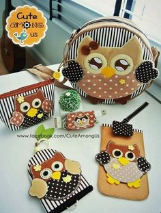 Kit coruja Owl Crafts, Diy And Crafts, Crafts For Kids, Felt Patterns, Bag Patterns To Sew, Leather Bags Handmade, Handmade Bags, Love Sewing, Sewing For Kids