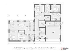 Grundriss Erdgeschoss E 10-206.1 Bungalow in L-Form