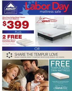 Menards Twin Mattress Labor Day #Mattress SALE! purchase Ashley Sleep Queen Memory Foam, get ...