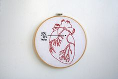 Hey, I found this really awesome Etsy listing at https://www.etsy.com/listing/91653157/hand-embroidery-hoop-art-you-are-here-in
