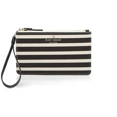 kate spade new york Wristlet - Fairmount Square Slim Bee ($68) ❤ liked on Polyvore featuring bags, handbags, clutches, kate spade, wristlet pouch, purse pouch, striped purse and kate spade clutches