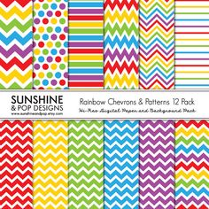 INSTANT DOWNLOAD - 12 Rainbow Chevron & Pattern Digital Papers perfect for scrapbooking, invitations, party decor, backgrounds. $3.99, via Etsy.