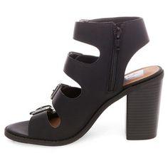 Women's dv Tessa Multiple Buckle Heeled Quarter Strap Sandals - Black 7