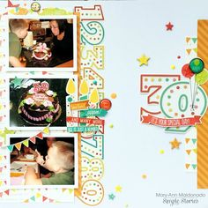 Project Ideas for Simple Stories - Let's Party Collection - Chipboard Stickers Birthday Scrapbook Layouts, Scrapbook Sketches, Scrapbook Page Layouts, Scrapbooking Ideas, Picture Layouts, Multi Photo, Candy Cards, Simple Stories, Studio Calico