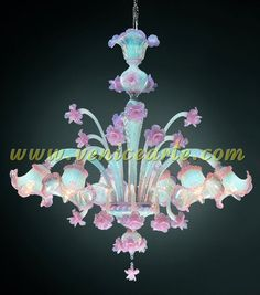 Murano Chandelier Colombina Opal Pink 6 lights