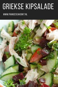 Recept griekse kipsaslade. Gewoon een hele fijne salade met kip. Een beetje Grieks georiënteerd, vandaar de naam. Net even anders door de toevoeging van olijven en rode biet. Eet het als lichte avondmaaltijd en bewaar de restjes voor de volgende dag als lunch. #salade Tapenade, Avocado Wrap, Low Carb Recipes, Healthy Recipes, Healthy Food, Salad Recipes, Side Dishes, Salads, Food Porn